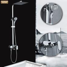 XOXO modern stil otomatik düğme bakır krom soğuk su ve sıcak su duş bataryası seti yükseklik ayarı duş çubuğu 9710