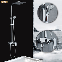 XOXO moderne stijl automatische knop koper chroom koud water en warm water douche kraan set hoogte aanpassing Douche staaf 9710