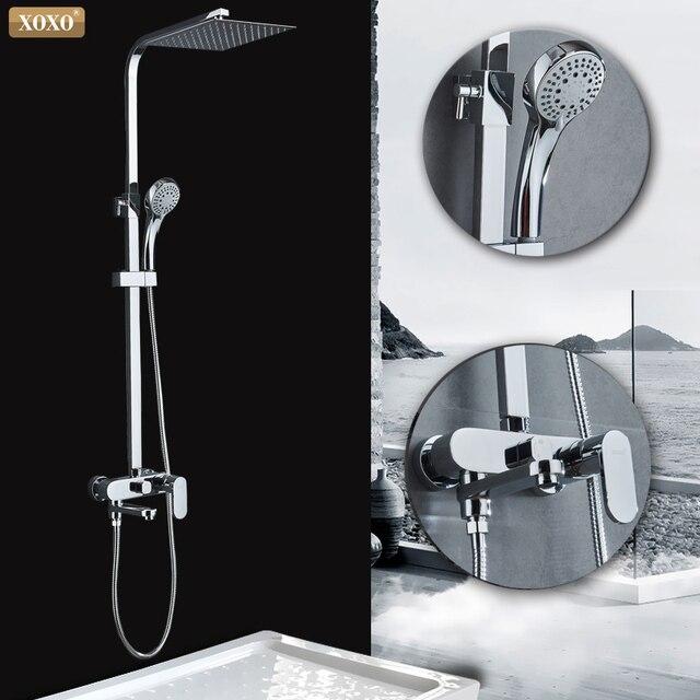 XOXO מודרני סגנון אוטומטי כפתור נחושת כרום מים קרים וחם מים מקלחת ברז סט גובה התאמת מקלחת מוט 9710