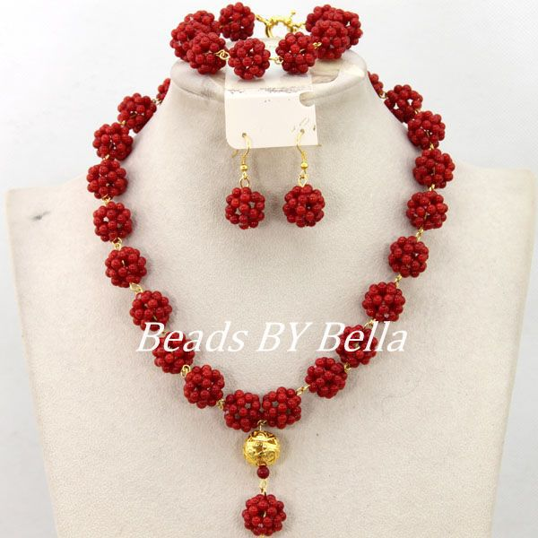 African Jewelry Set Designers Red Nigerian African Wedding Coral Beads Balls Necklaces Jewelry Set New Free Shipping ABY447