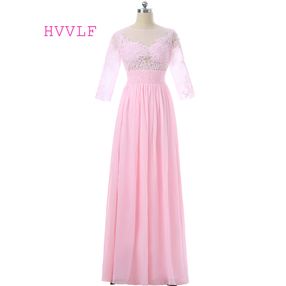 Pink   Evening     Dresses   2019 A-line 3/4 Sleeves Chiffon Lace Beaded See Through Women Long   Evening   Gown Prom   Dresses   Robe De Soiree