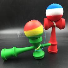 Kendama 150 шт раста три цвета резиновый шар с полной цветной каучук ручкой