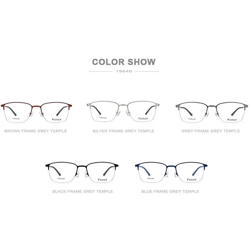 Fonex liga óculos ópticos quadro homem ultraleve quadrado prescrição óculos feminino 2019 metade miopia coreano screwless eyewear