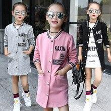 Meninas casacos para a primavera e outono 2019 crianças longo cardigan trench coat carta meninas jaqueta de beisebol algodão roupas adolescentes
