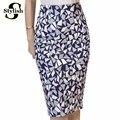 Alta Falda de La Cintura 2016 Del Otoño Del Verano Nueva Moda Coreana Geométrico Impreso Lápiz Faldas Mujeres Rodilla-Longitud Ropa de Mujer Oficina
