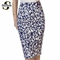 High Waist Skirt 2016 Summer Autumn New Fashion Korean Geometric Printed Pencil Skirts Women Knee-Length Ladies Office Clothing
