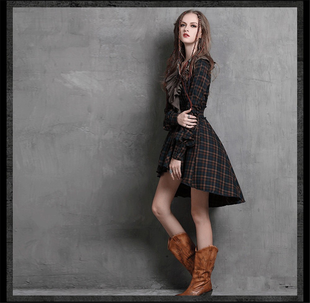 Vintage Autumn Elegant Plaid Women Dress Tunic 90% Cotton Dress Women Long Sleeve Ruffles Vestidos Femininos Vintage Dresses (6)