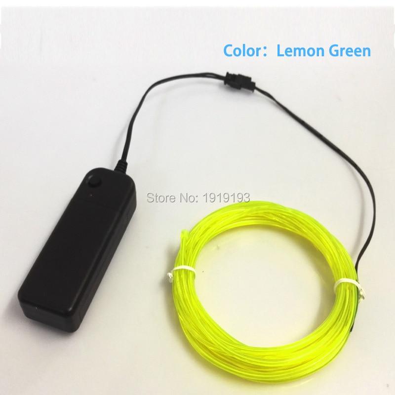 Hot Sales 10 Color Choice 3.2mm EL Wire Flexible Neon Light LED strip For Festvial Party Decoration + DC3V Battery Controller