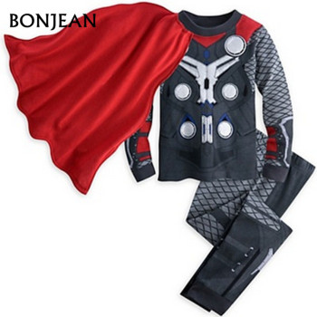 kids pajamas clothes for boys Hulk superhero Batman  Iron Man costume Spiderman children sleeping wear clothing sets 5
