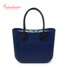 Anlaibeier eva bolsa o bolsa de estilo clásico grande ambag con inserto colorido con cremallera lienzo bolsillo interior de imitación de cuerda mango de cuero