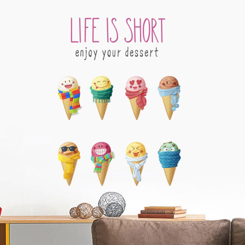 Home Decoration Cartoon Ice Cream Wallpapers Kitchen Refrigerator Door Stickers Decorative Living Room Kitchen Wall Sticker NEW