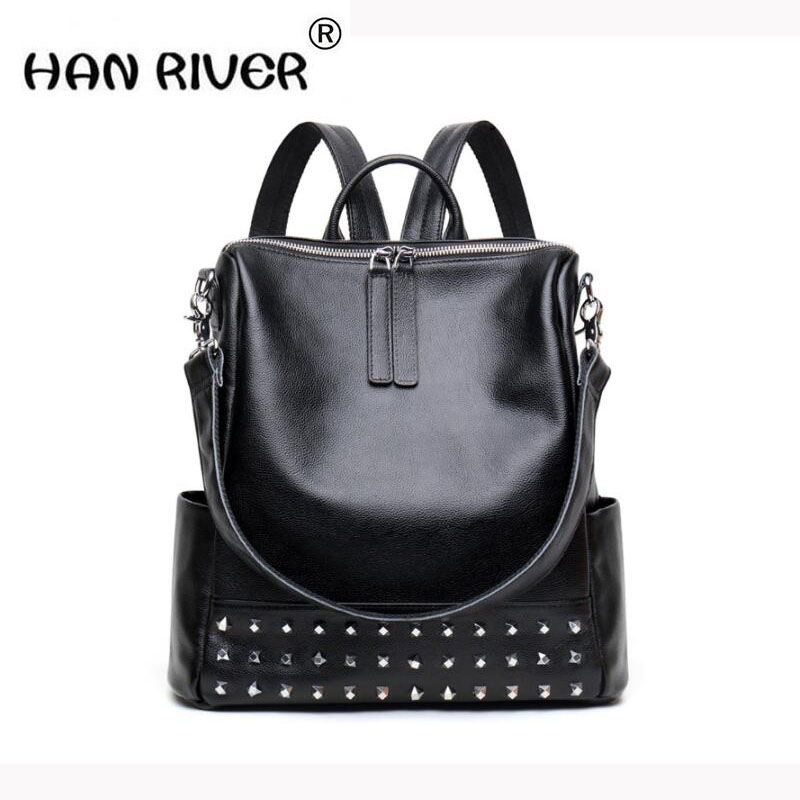 HANRIVER 2018 genuine leather female backpack han version of the personality rivet in the style of fashion double shoulder bag fasiqi crocodile the female bag chain of the chain pig bao star in the style of 2016 new fashion single shoulder slanting mini