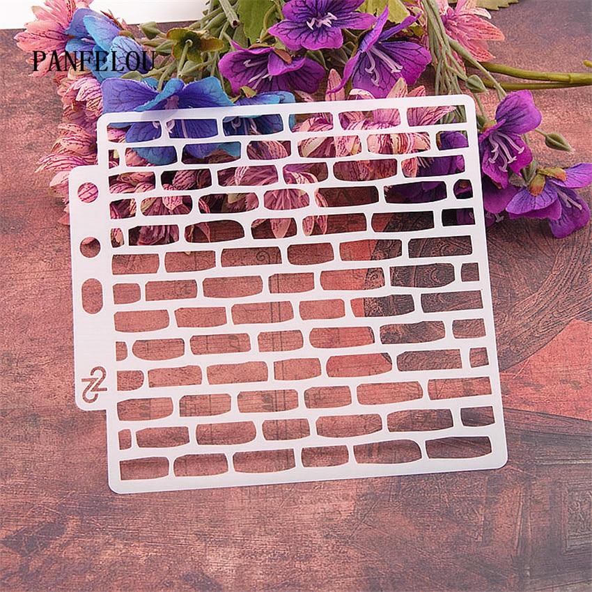 Brick wall grid scrapbook stencils spray plastic mold shield DIY cake hollow Embellishment printing lace ruler valentine|Embellishments|   - AliExpress