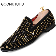 Fashion men's shoes casual flock breathable loafers male rivet slip on party shoe man comfortable driving shoes for men hot sale ubfen 2017 hot sale casual shoes for men handmade slip on comfortable and soft fashion classic loafers male lazy driving shoes