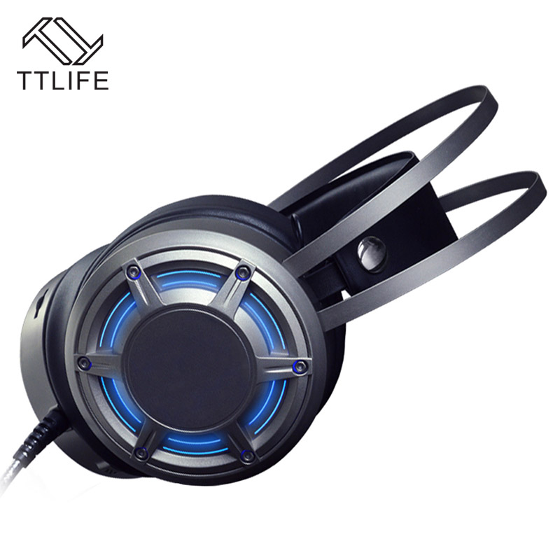 TTLIFE Surrounded Sound Vibration Headphone Deep Bass LED Light Gaming Headband Headset with Microphone for LOL CF PC Gamer g1100 3 5mm pro gaming headset headphone for ps4 laptop crack pattern led led blue black red white