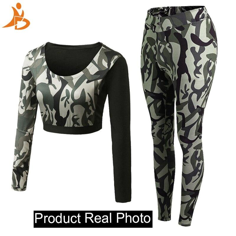 2019 Zweiteiler Trainingsanzug Camouflage Sexy - Sportbekleidung und Accessoires - Foto 2