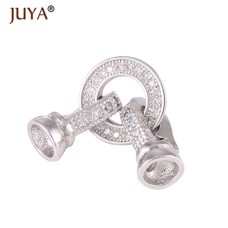 Juya High Quality Copper Clasps Connectors Micro Pave CZ Rhinestone Jewelry End Cap Clasp For Bracelet Necklace Making Findings