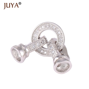 high quality copper metal micro pave CZ rhinestone jewelry clasps Connectors End Cap clasp for Bracelet necklace making findings