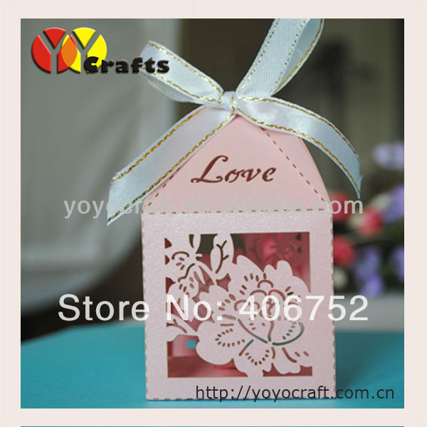 Customized pearl paper laser cut fashionable beautiful pink flower Amazing Decorative Card Boxes