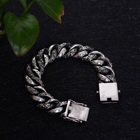 Men's Bracelet Europe and the United States Tang grass exquisite pattern retro silver chain S925 sterling silver jewelry