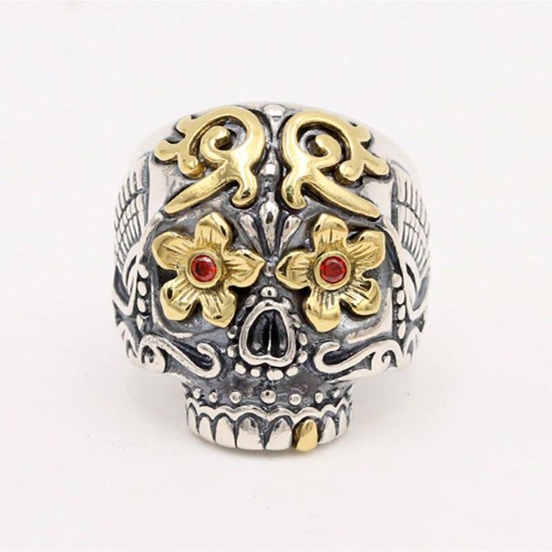 Argent massif 925 luxe sucre crâne anneaux hommes à la main en argent Sterling 925 Mans bijoux gothique Biker anneau Thai argent redimensionnable