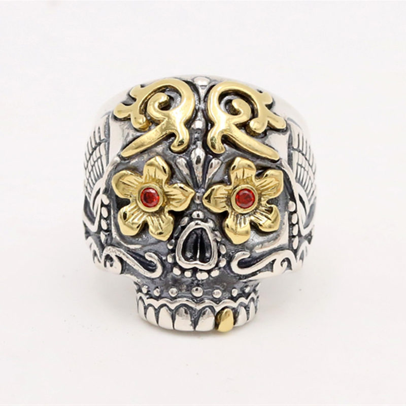цена на Solid Silver 925 Luxury Sugar Skull Rings Men Handmade Sterling Silver 925 Mans Jewelry Gothic Biker Ring Thai Silver Resizable