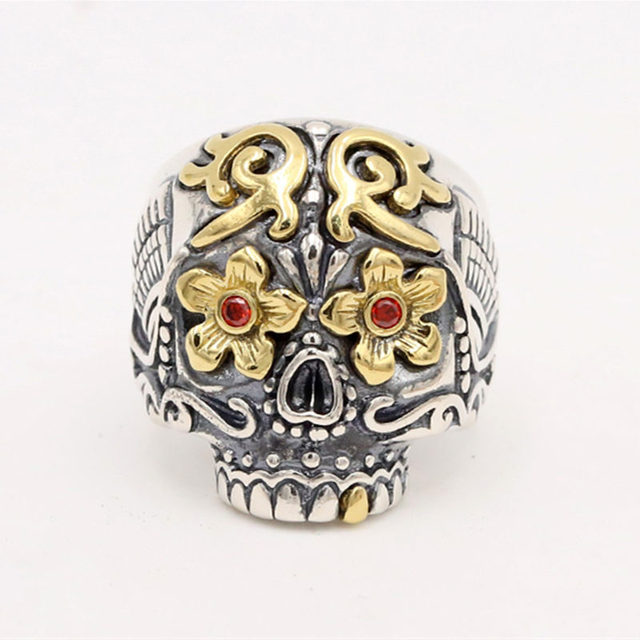Solid Silver 925 Luxury Sugar Skull Rings Men Handmade Sterling Silver 925 Mans Jewelry Gothic Biker Ring Thai Silver Resizable