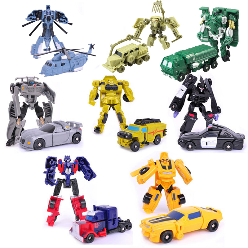 Transformation Mini Cars Kid Classic Robot Car Toys For Children Action & Toy Figures Plastic Education Deformation Boys Gifts dinosaur transformation plastic robot car action figure fighting vehicle with sound and led light toy model gifts for boy