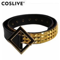Coslive Harley Quinn Belt Suicide Squad Leather Gold Pyramid Studded Belt Halloween Cosplay Costume Accessories For Adult