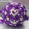Новое Прибытие Фиолетовый Цвет Холдинг Искусственный Fowers Свадебные Букет с Цветами в Руках Бриллиантовая Брошь Жемчуг Холдинг Свадебные Букеты
