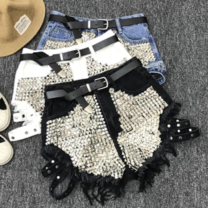 Rivet Denim Shorts 2020 Summer Spring Women High Waist Loose Tassel Jeans Shorts