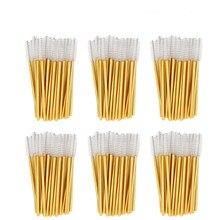 1000 adet/grup altın çubuk tek kullanımlık maskara fırçaları aplikatör kirpik naylon makyaj fırça kirpik uzatma makyaj aksesuarları