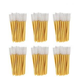 Image 1 - 1000pcs/lot Gold Stick Disposable Mascara Wands Applicator Lash Nylon Makeup Brushes Eyelash Extension Makeup Accessorices