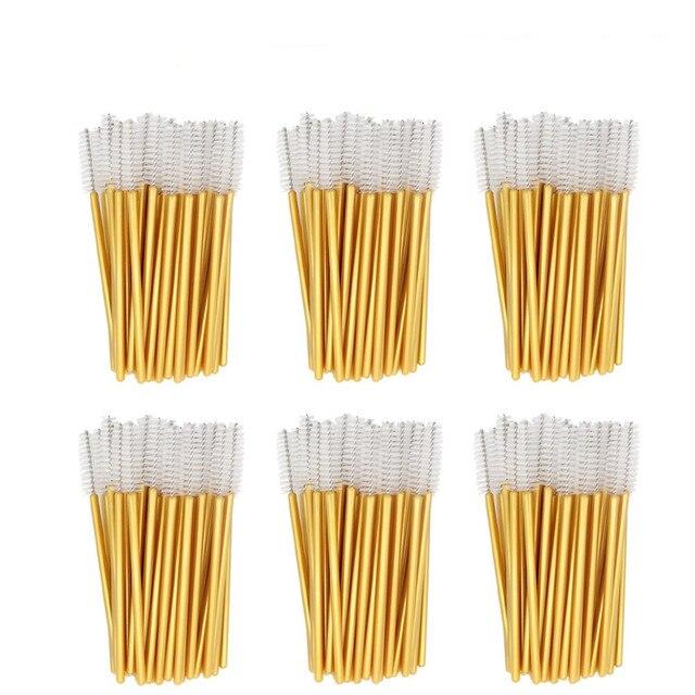 1000pcs/lot Gold Stick Disposable Mascara Wands Applicator Lash Nylon Makeup Brushes Eyelash Extension Makeup Accessorices