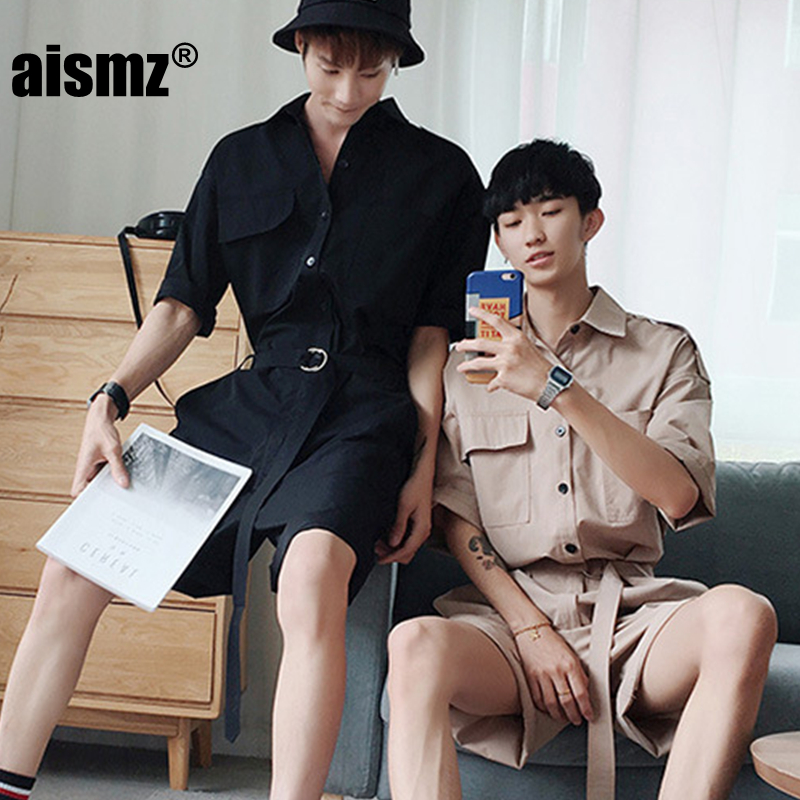 Aismz Fashion Jumpsuit Mens Rompers High Street Shorts Jumpsuit Male Handsome Baggy Overalls Palysuit Cargo tracksuit men ...