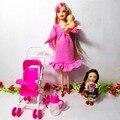 Venda quente as crianças brincam casa conjuntos de móveis casa de bonecas para grávidas barbie boneca carrinho mobília do berçário do bebê toys kelly, 4589