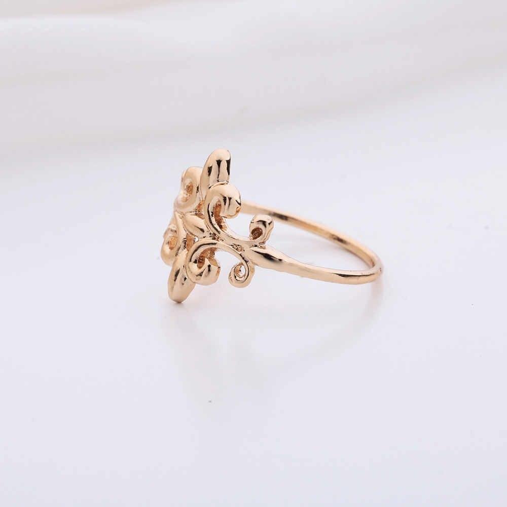 Kinitial Fleur de lis Anéis Encantos Declaração de Flor Anel de Dedo Midi Anel Cruz para As Mulheres Presente Jóias anillos mujer