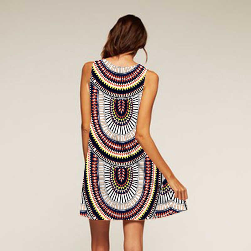 Платье Дашики с цветочным принтом 2018 без рукавов, дизайнерская одежда в африканском стиле, хлопковое летнее пляжное мини-платье в стиле бохо, сексуальное женское платье, новинка