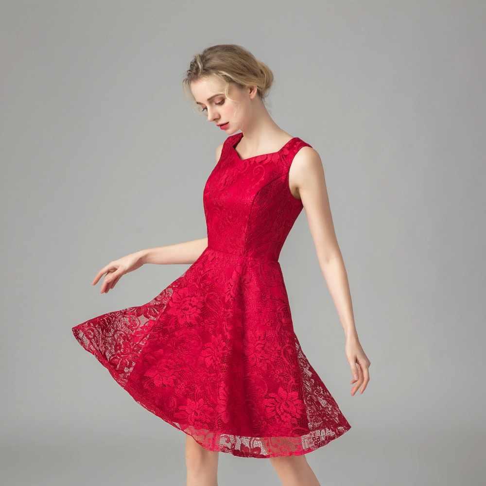 Ruthshen Büyüleyici Kırmızı Kısa balo kıyafetleri V Yaka Dantel Genç Kız Resmi Mezuniyet Elbise Ucuz Gerçek Fotoğraf Robe De Soiree 2019