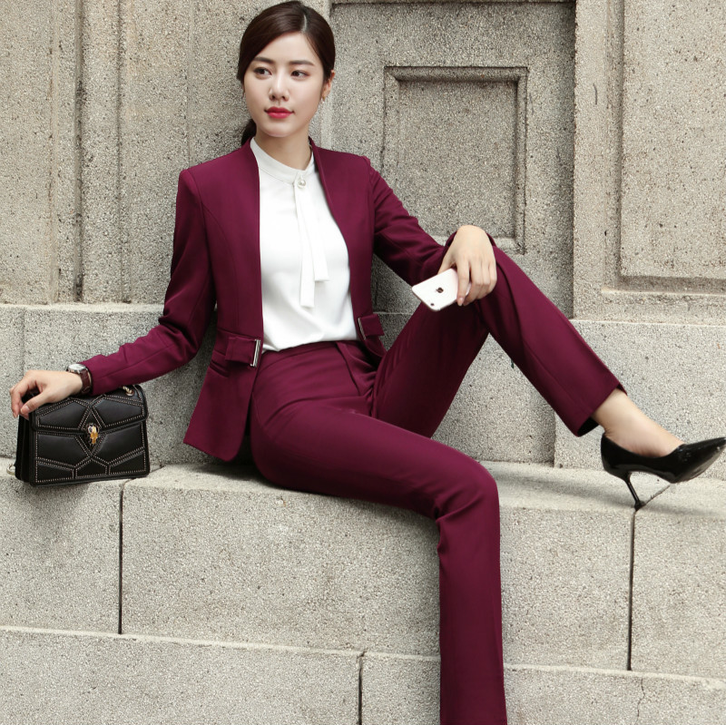 IZICFLY New Formal Office Women Suits Blazers Uniform Elegant Garnitur Damski Ensemble Femme 2 Pieces Pantalon Pant Suits Beige