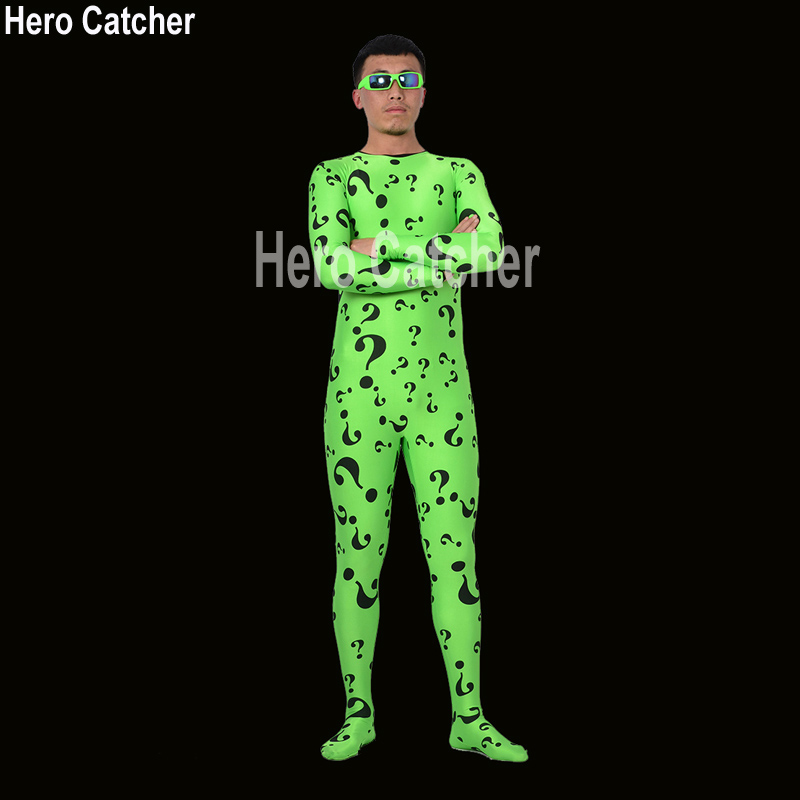 Hero Catcher High Quality Riddler Costume With Glasses Green Riddler Suit Custom Made Fullbody Zentai Suit