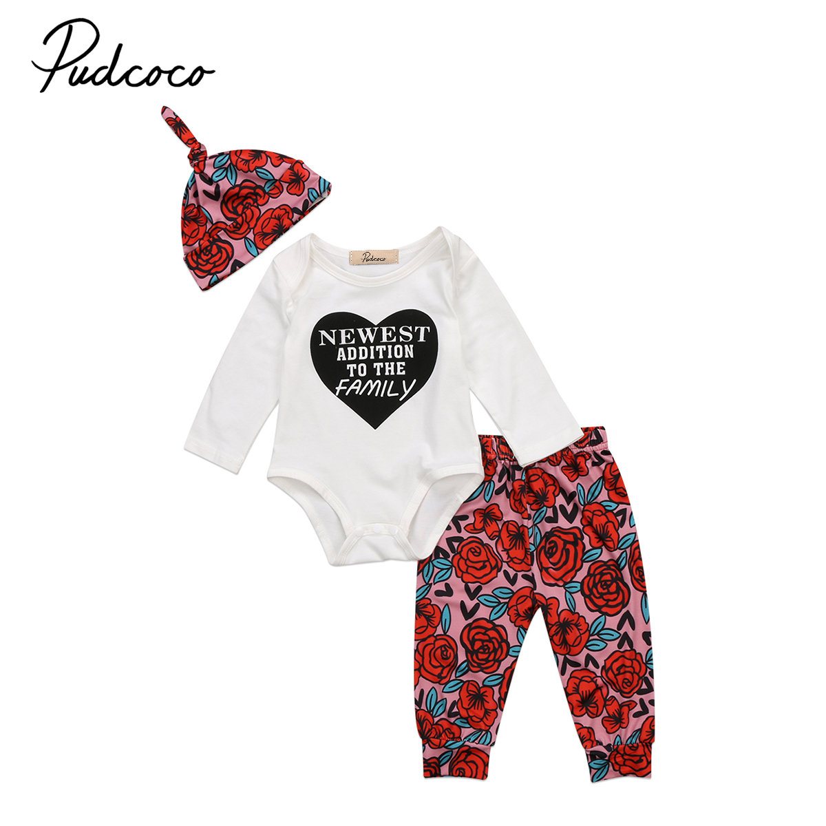 Cute Newborn Baby Girls Clothes Letter Print Top Romper Jumpsuit Floral Long Pants Leggings Hat Outfits Clothes Set 3pcs