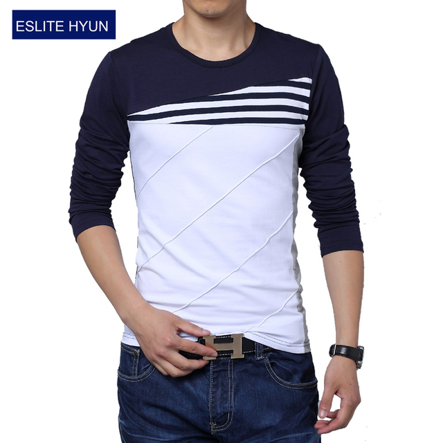 2018 NEW patchwork o-neck casual striped t-shirt men long sleeve fitness men 7fb0d5f11609