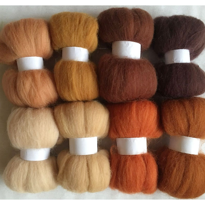 50G Bag Of RUSTY Coloured Needle Felting Wool Carded wool