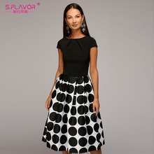 S.FLAVOR Vintage style women wave point dress Hot Sale short sleeve patchwork A-line short dress Casual women autumn vestidos