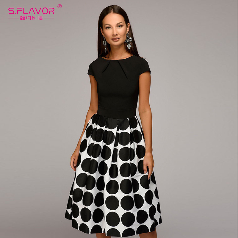 168f03aa1fad7 US $15.8 49% OFF|S.FLAVOR Vintage women wave point dress Hot Sale short  sleeve patchwork A line short dress Casual women Spring Summer vestidos-in  ...