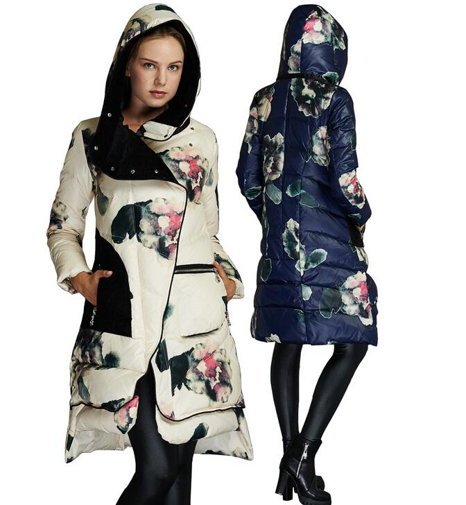 2018 Winter Jacket Womens Brand Print Parka white duck Down Jackets With Hooded For Female casual Coats Warm Outerwear h670