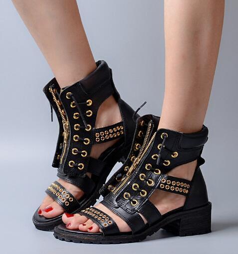 2017 New arrivals mid-heel gold studs front zipper female sandal black/light brown leather summer gladiator sandal ankle boots