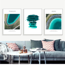 Modern Minimalist Blue Beach Creative English Pattern Canvas Painting Art Print Abstract Poster Picture Wall Home Decoration
