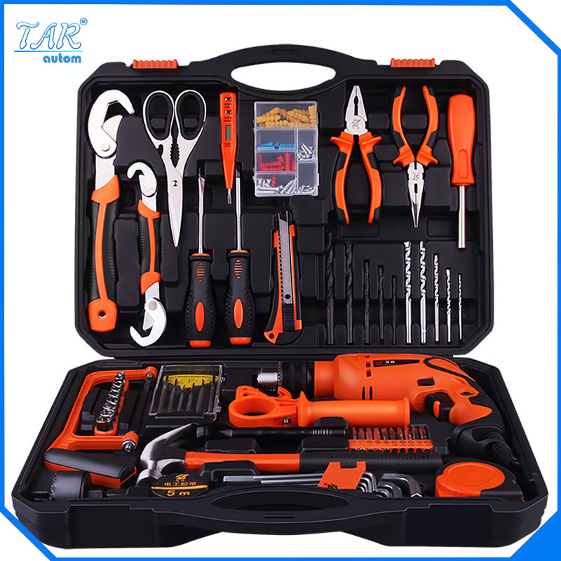 цена на Hot Sales High Quality Electric Drill Impact Drill  Hand Tools Power Tools Drill set family electric toolbox set Group set tool